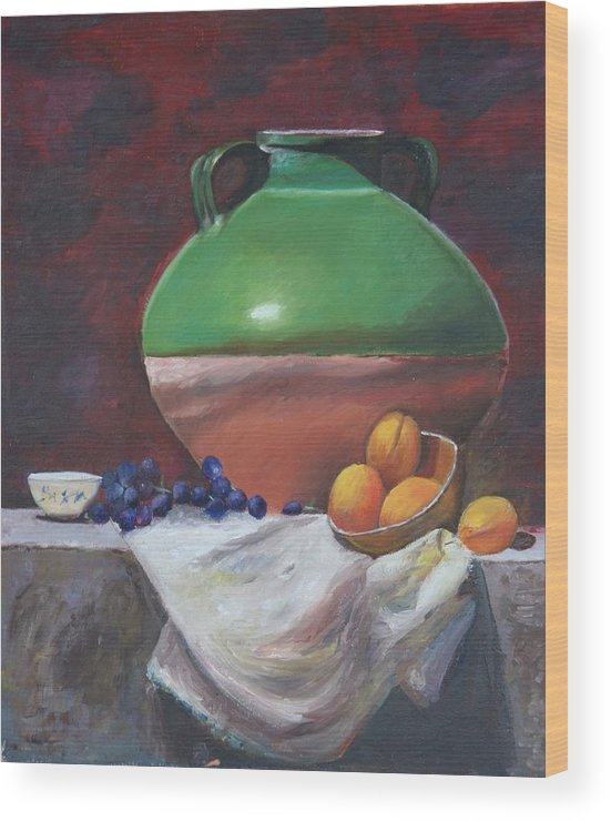 Vase Wood Print featuring the painting Vase by Taly Bar