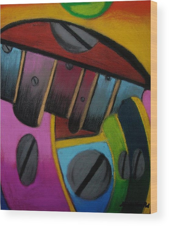 Abstract Wood Print featuring the painting Sharpened Intuition by Misty VanPool