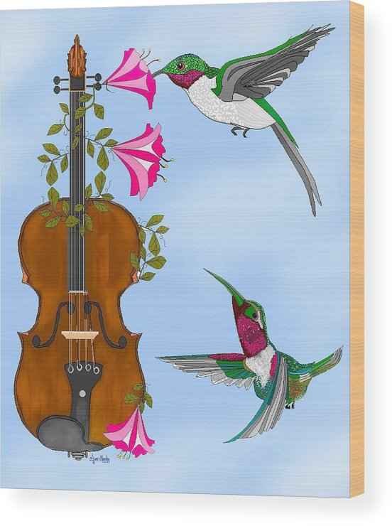 Fantasy Wood Print featuring the painting Singing The Song Of Life by Anne Norskog