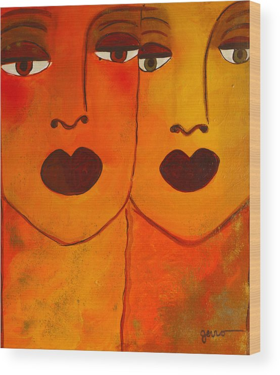 Faces Artwork Wood Print featuring the painting Cayenne by Helen Gerro