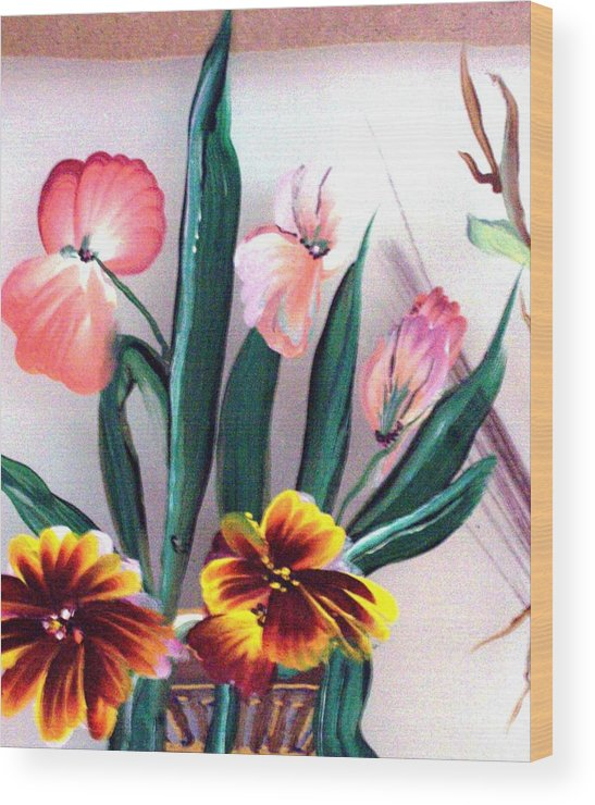 Flower Wood Print featuring the print Untitled by Beverly Baxter