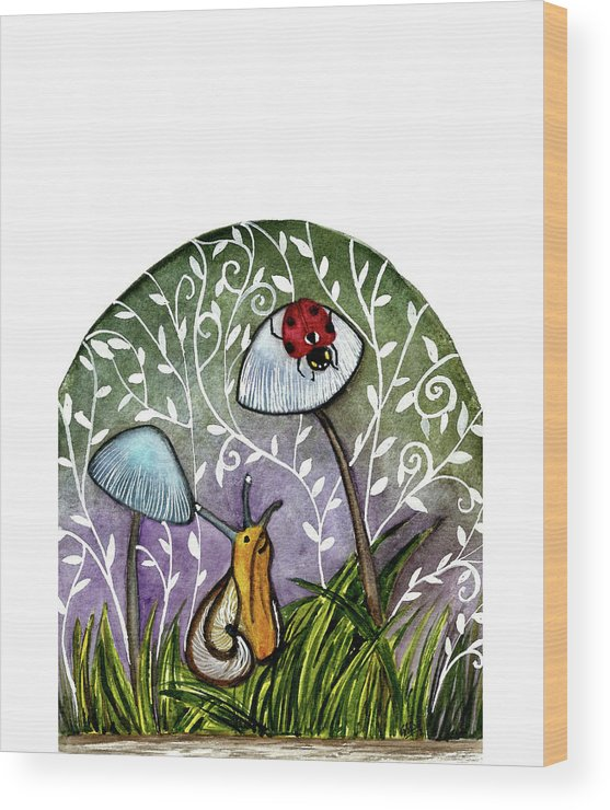Watercolor Illustration Wood Print featuring the painting A Little Chat-ladybug And Snail by Garima Srivastava