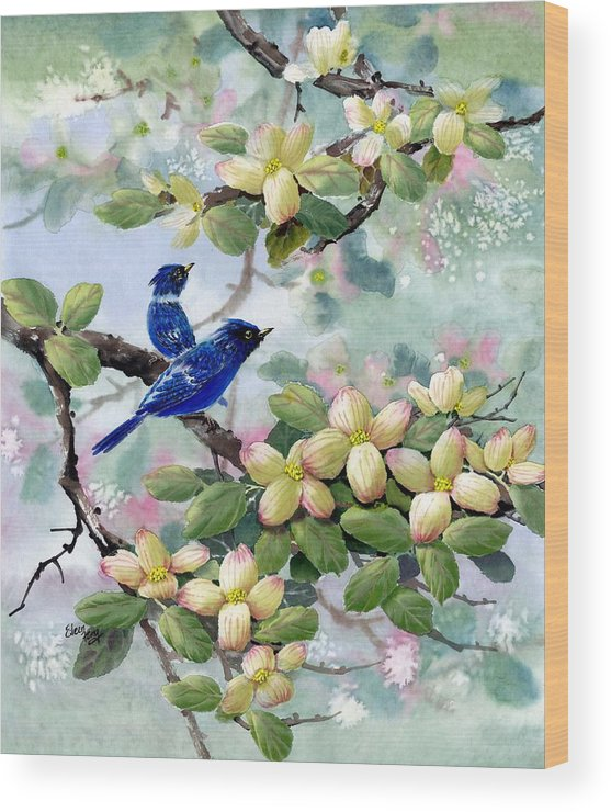 Blue Jays Wood Print featuring the painting A Touch Of Pink On White by Eileen Fong