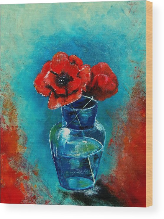 Flowers Wood Print featuring the painting A Vase With Poppies by Veronique Radelet