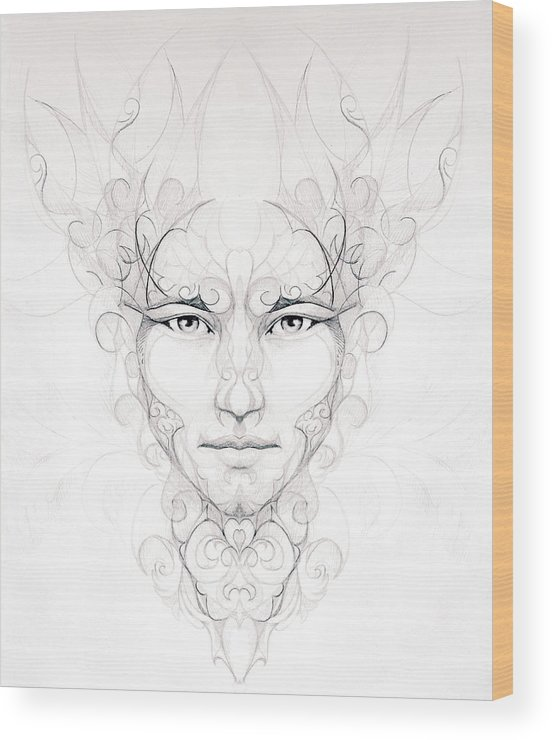 Abstract Ornamental Drawing Of Man Face Portrait On Paper Eye Wood Print