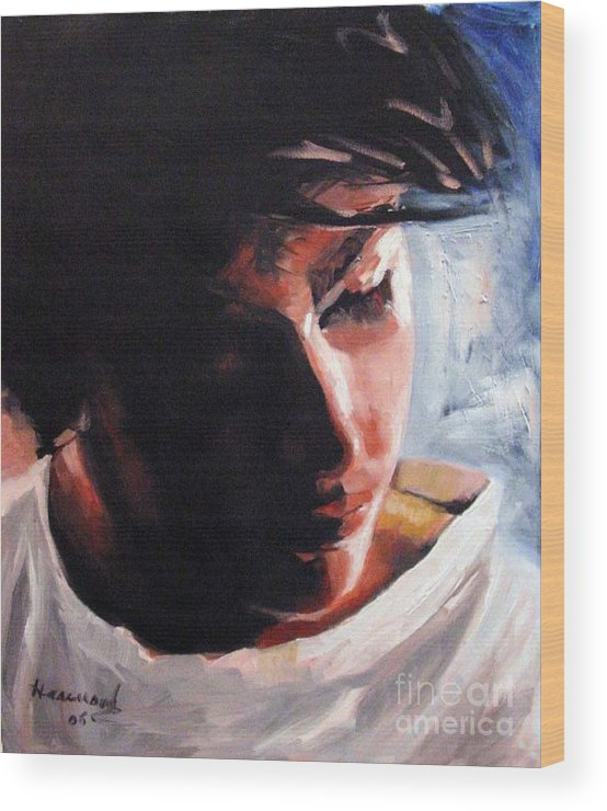 Portrait Wood Print featuring the painting Adam by Ali Hammoud