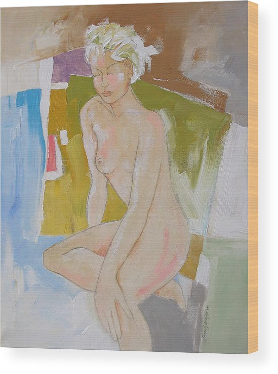 Abstract Wood Print featuring the painting After The Bath by Linda Monfort