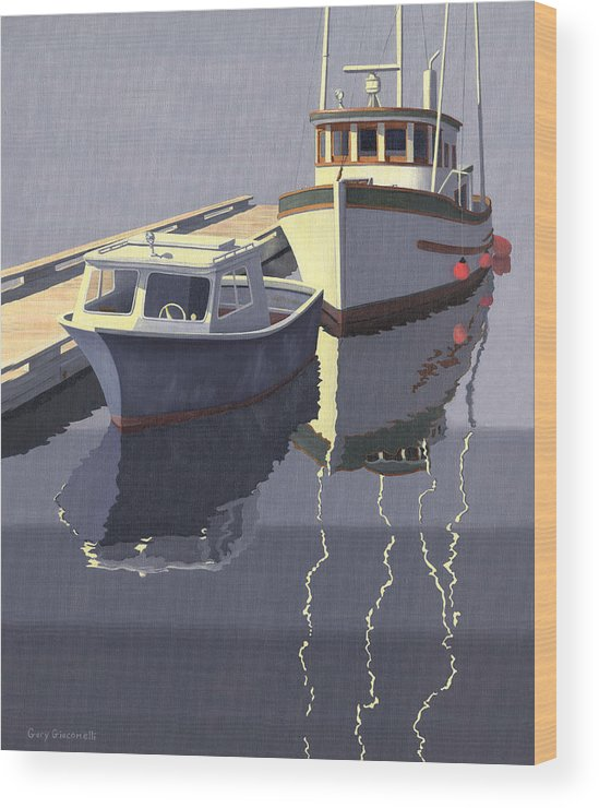 Boat Wood Print featuring the painting After The Rain by Gary Giacomelli