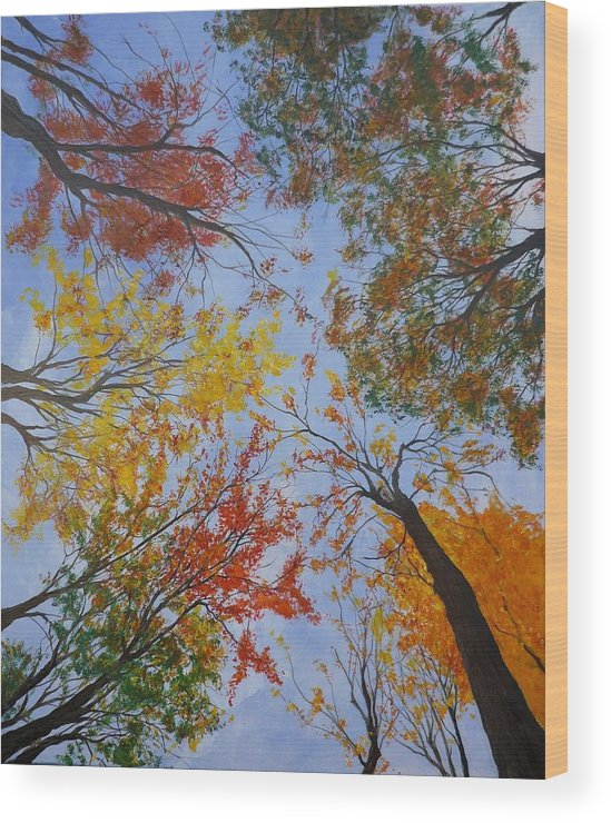 Tree Wood Print featuring the painting Autumn Sky by Lizzy Forrester