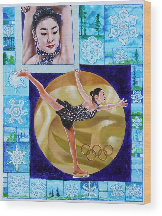 Olympic Figure Skater Wood Print featuring the painting Beauty On Ice - Yu-na Kim by John Lautermilch