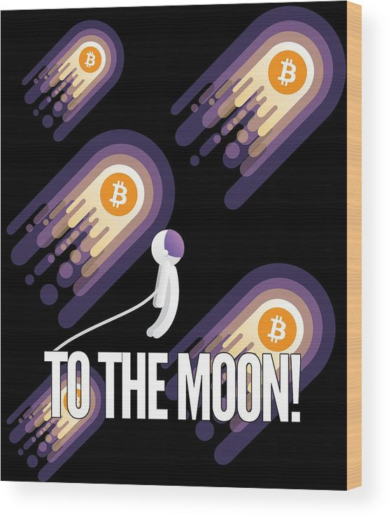 Bitcoin Wood Print featuring the drawing Bitcoin To The Moon Astronaut Cryptocurrency Humor Funny Space Crypto by Cameron Fulton