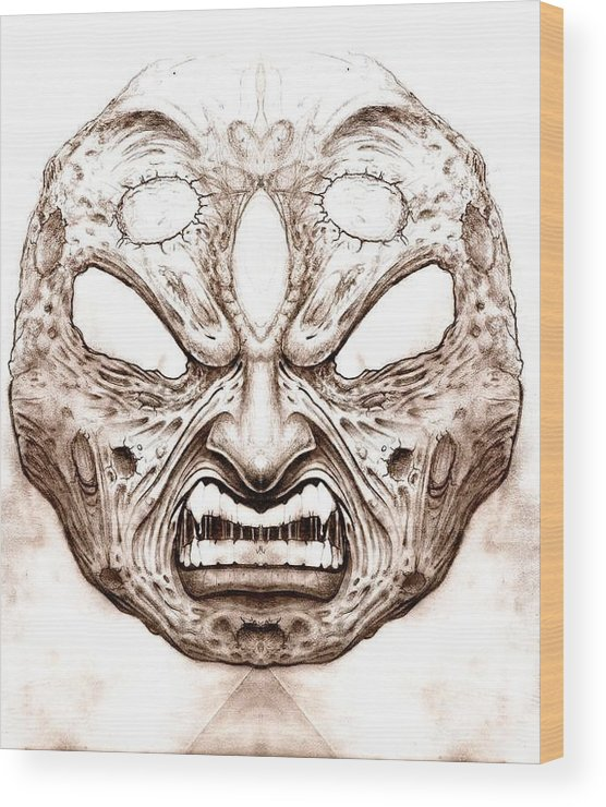 Anger Wood Print featuring the drawing Blind Fury by Will Le Beouf