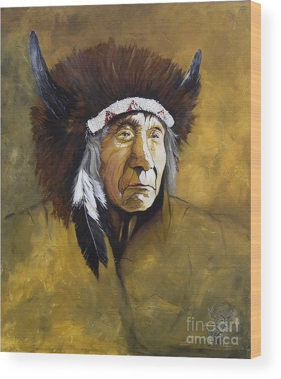 Shaman Wood Print featuring the painting Buffalo Shaman by J W Baker