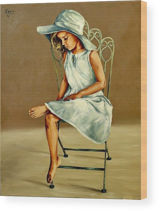 Hat Wood Print featuring the painting Capelina by Natalia Tejera