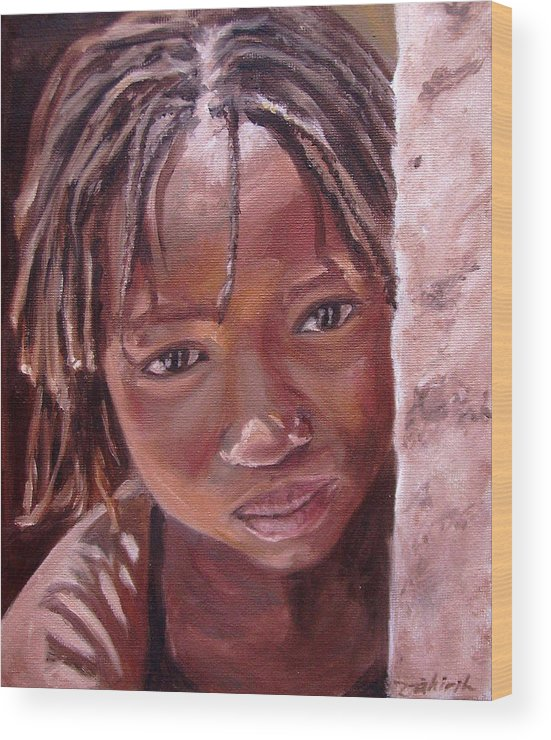 African Girl Wood Print featuring the painting Chantal by Tahirih Goffic