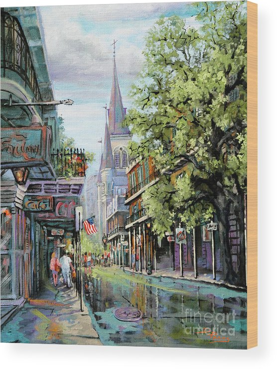 St. Louis Cathedral Wood Print featuring the painting Chartres Rain by Dianne Parks
