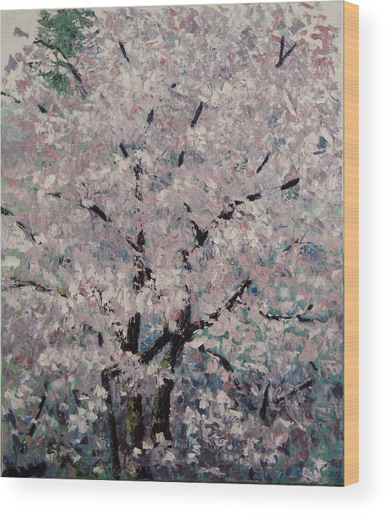 Trees Wood Print featuring the painting Cherry Pink by Paul Illian