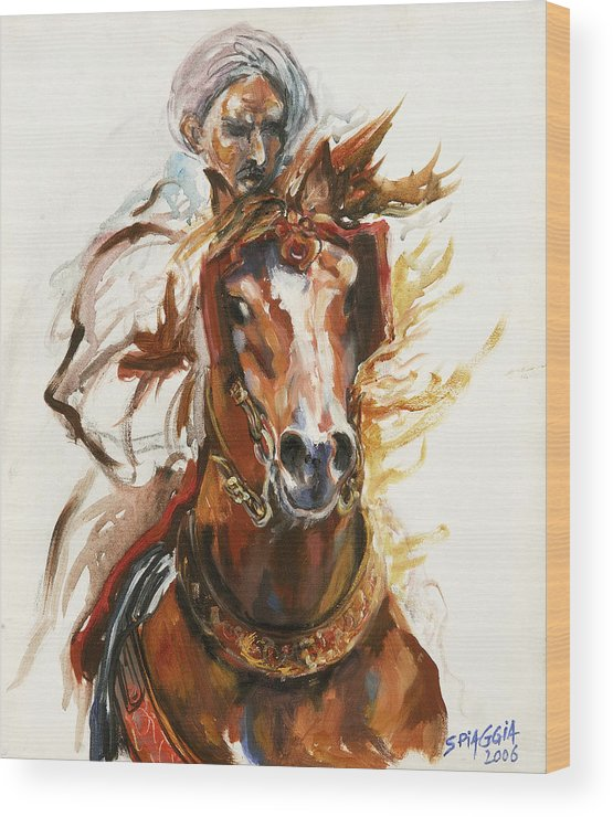 Horse Wood Print featuring the painting Cheval Arabe Monte En Action by Josette SPIAGGIA