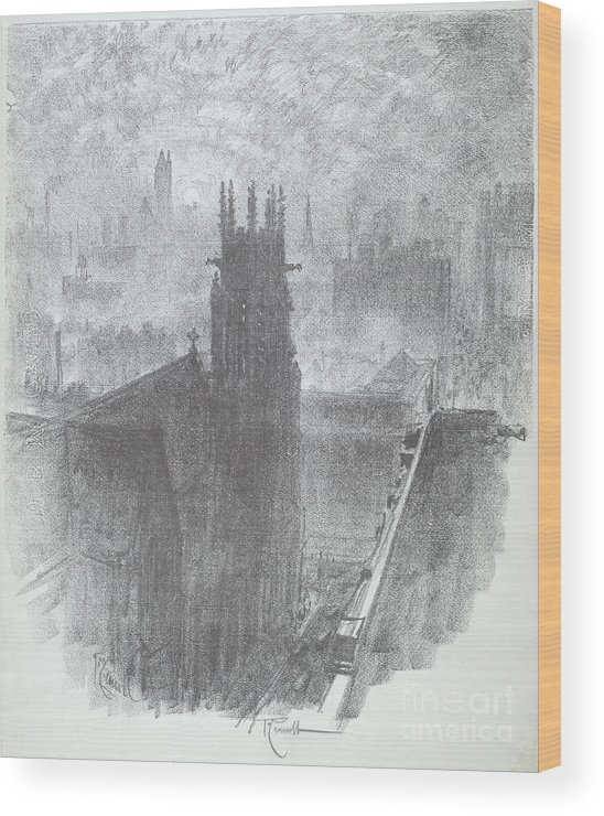 Wood Print featuring the drawing Christ Church, St. Louis by Joseph Pennell