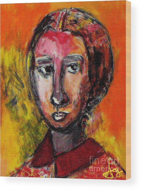 Woman Wood Print featuring the painting Copy Of A Master by Joyce Goldin