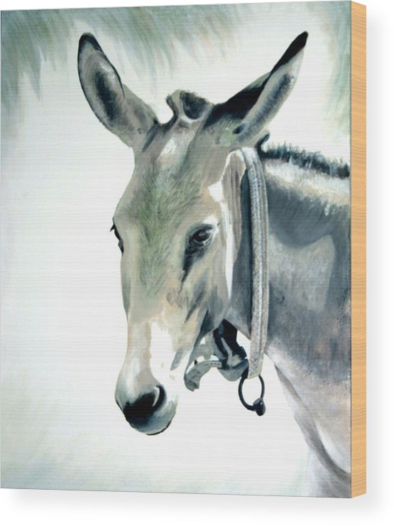 Donkey Wood Print featuring the painting Donkey by Fiona Jack