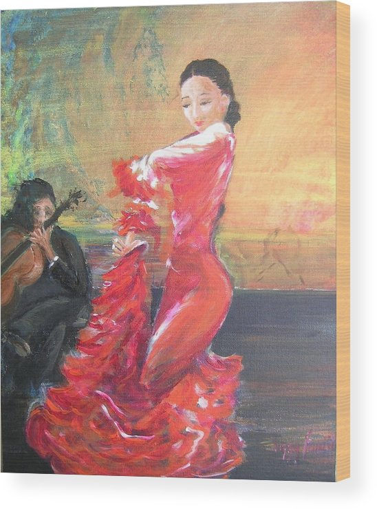 Gypsy Flamenco Dancer. Spanish Dancer Wood Print featuring the painting Duende by Lizzy Forrester