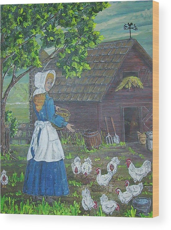 Barn Wood Print featuring the painting Farm Work I by Phyllis Mae Richardson Fisher