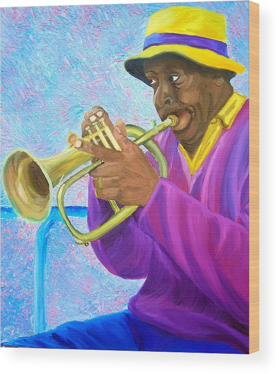 Street Musician Wood Print featuring the painting Fat Albert Plays The Trumpet by Michael Lee