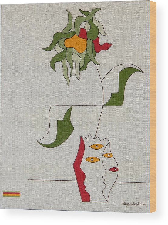 Flower Modern Constructivisme Special Original Wood Print featuring the painting Flower by Hildegarde Handsaeme
