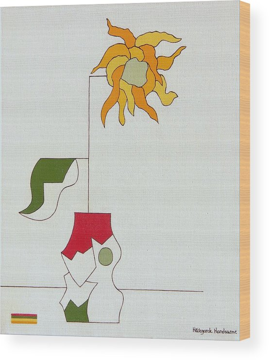 Flower Special Original Modern Constructivisme Stylisme Wood Print featuring the painting Flower II by Hildegarde Handsaeme