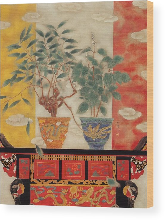 Flowers Painting Wood Print featuring the painting Flowers In Vase-legend Of Drago Phoenix by Minxiao Liu