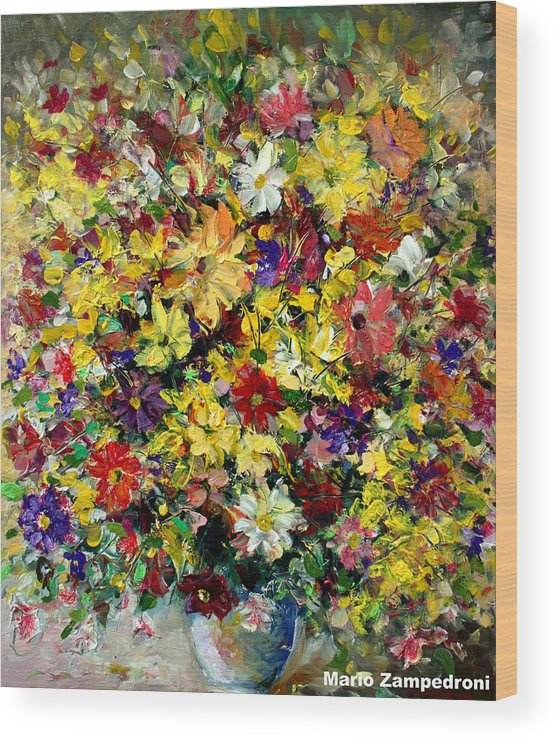 Flowers Wood Print featuring the painting Flowers by Mario Zampedroni