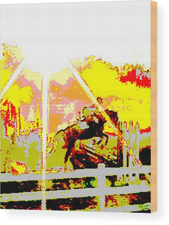 Horse Wood Print featuring the digital art Fun In The Sun by Donna Thomas