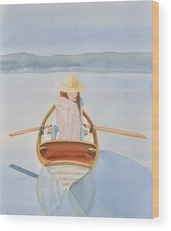 Linda Brody Wood Print featuring the painting Girl In Rowboat by Linda Brody