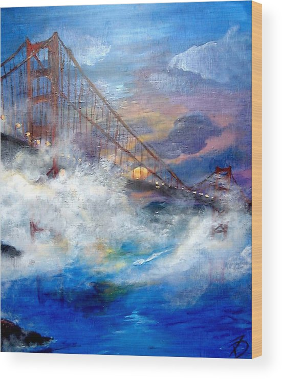 Golden Gate Wood Print featuring the painting Golden Gate Sunset by Travis Day