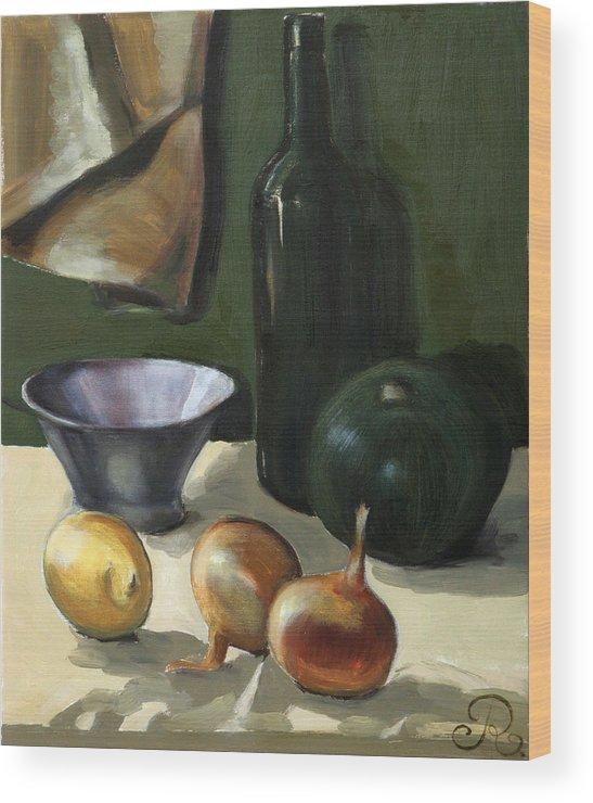 Still-life Green Yellow Cucurbit Lemon Onion Wood Print featuring the painting Green Still-life by Raimonda Jatkeviciute-Kasparaviciene