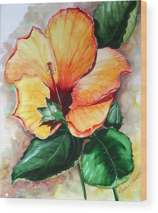 Flower Paintings Bloom Paintings Caribbean Paintings Floral Paintings Tropical Paintings Yellow Hibiscus Paintings Greeting Card Paintings Canvas Print Paintings Poster Art Paintings Wood Print featuring the painting Hibiscus Sunny by Karin Dawn Kelshall- Best