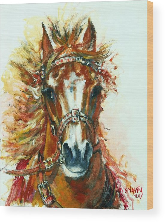 Horse Wood Print featuring the painting Hmar Pur-sang Arabe by Josette SPIAGGIA