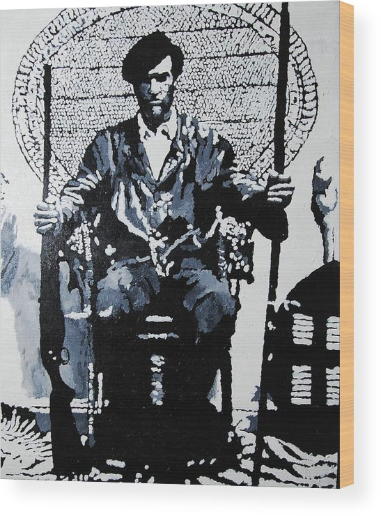 Black Panther Wood Print featuring the painting Huey Newton Minister Of Defense Black Panther Party by Lauren Luna