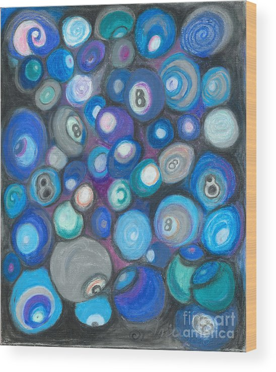 Abstract Art Wood Print featuring the painting In Front Of The 8 Ball by Ania M Milo