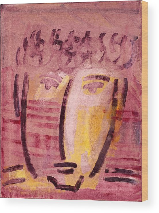 Abstract Wood Print featuring the painting Inca Head by Michael Keogh