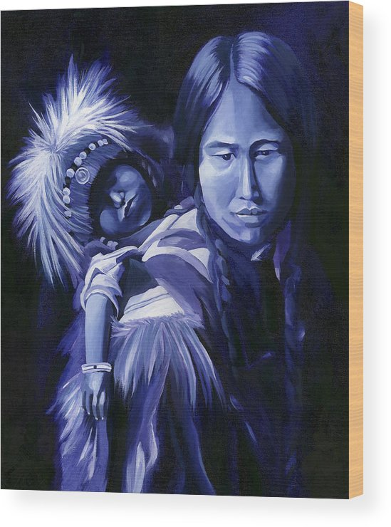 Native American Wood Print featuring the painting Inuit Mother And Child by Nancy Griswold