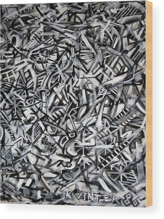 Abstract Black White Wood Print featuring the painting Jack's by Dave Kwinter