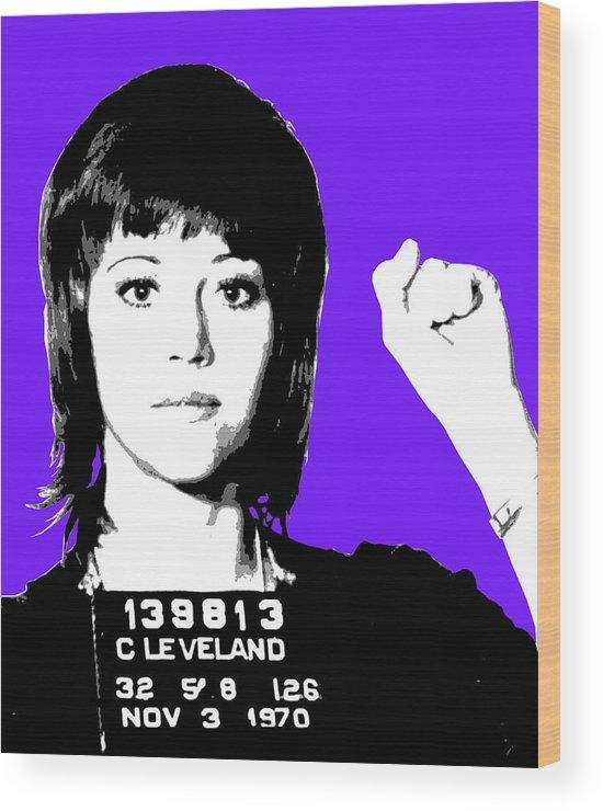 Jane Fonda Wood Print featuring the digital art Jane Fonda Mug Shot - Purple by Gary Hogben