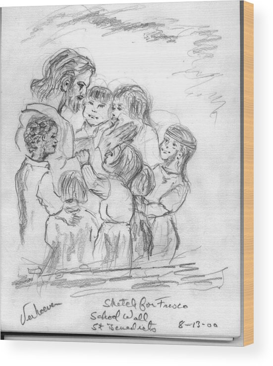 Sketch Jesus Chldren Religious Wood Print featuring the drawing Keep Not The Children From Me by Alfred P Verhoeven