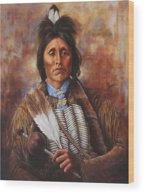 Native American Wood Print featuring the painting Kiowa by Harvie Brown