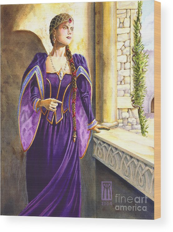 Camelot Wood Print featuring the painting Lady Ettard by Melissa A Benson