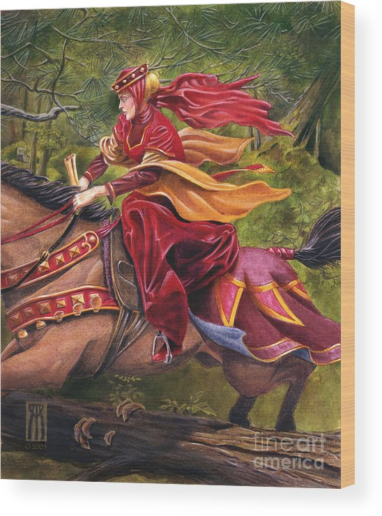 Camelot Wood Print featuring the painting Lady Lunete by Melissa A Benson