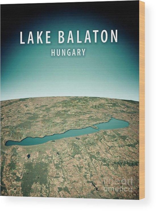 Lake Balaton Wood Print featuring the digital art Lake Balaton 3d Render Satellite View Topographic Map Vertical by Frank Ramspott