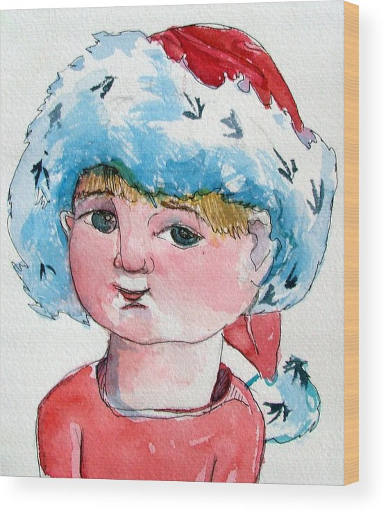 Santa Wood Print featuring the painting Lexi by Mindy Newman